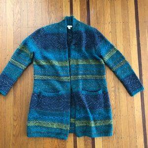 NEW J. Jill cardigan sweater teal gray small wool